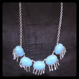 💙Turquoise Silver Necklace Statement Necklace💚